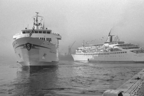 Historic black and white picture of Stena Britannica and Stena Germanica