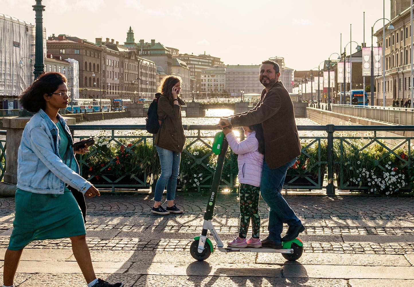 People on bridge in Gothenburg