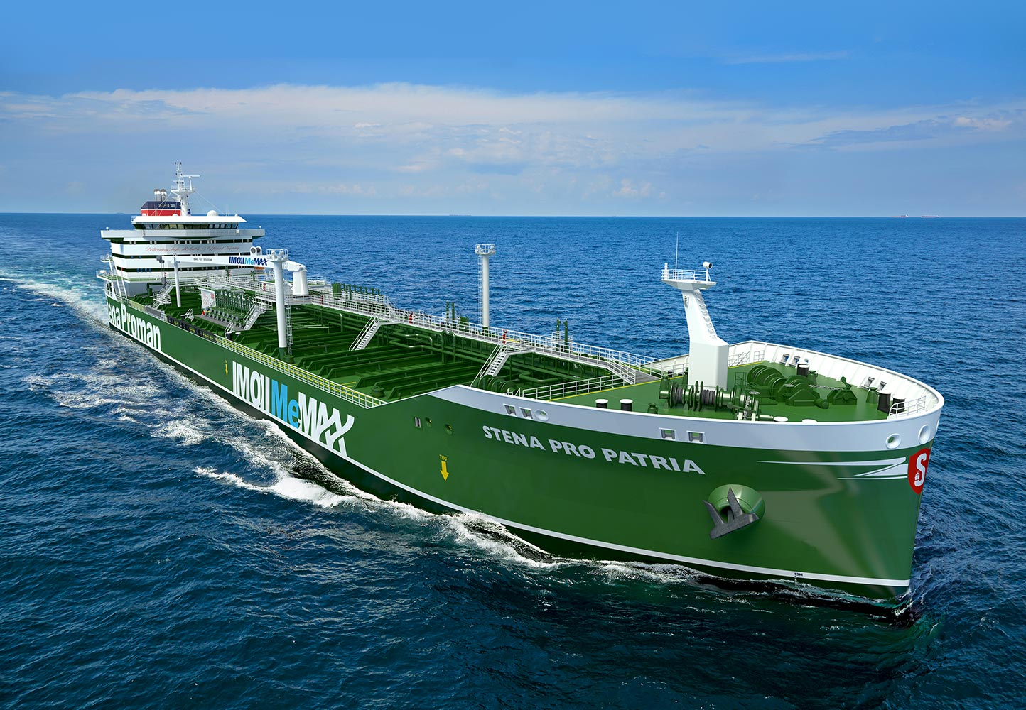 Large green vessel at sea
